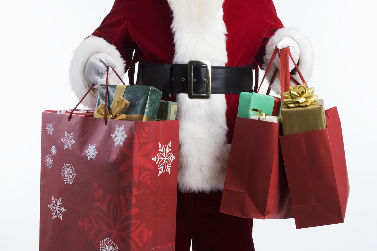 Santa Carrying Shopping Bags