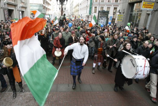 Revellers take part in a St Patrick's Day parade in central Moscow