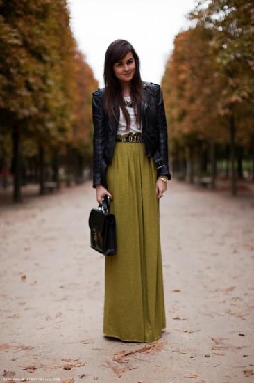 Μάξι φούστα με δερμάτινο τζάκετ