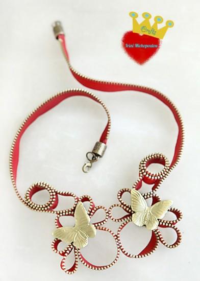 Flying butterflies necklace-Zipper series