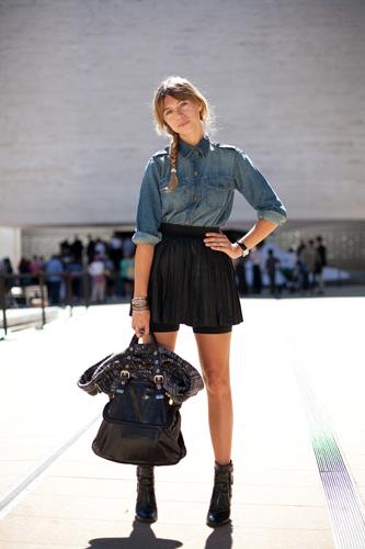 denim-shirt-pleated-leather-skirt