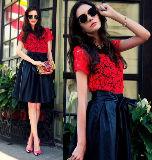 lace-leather-pleated-skirt