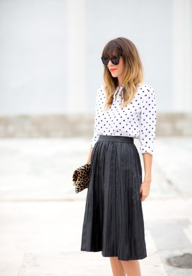 polka-dots-pleated-leather-skirt