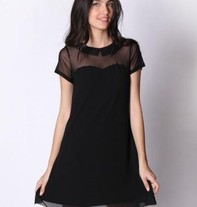 Βραδινό φόρεμα μουσελίνα με πέτο γιακά Lynne (64,90€)