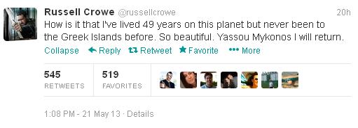 Το tweet του Russell Crowe εκφράζει το θαυμασμό του για τη Μύκονο, μέσω Twitter