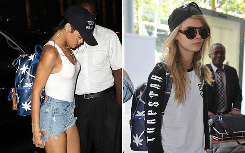 Rihanna-and-Cara-mcm-backpack