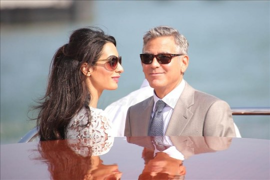 George Clooney and wife Amal Alamuddin spotted in Venice