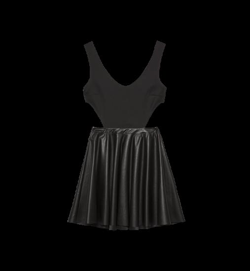 Φόρεμα με κοψίματα και φούστα από δερματίνη