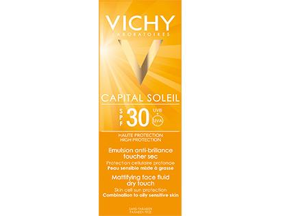Vichy Capital Soleil 30+: Λεπτόρρευστη, αντηλιακή κρέμα με ματ αποτέλεσμα, για την καταπολέμηση των βλαβερών επιπτώσεων των UV και την προστασία του πολύτιμου «γενετικού κεφαλαίου» της επιδερμίδας (ιδανική για μεικτή/λιπαρή επιδερμίδα)