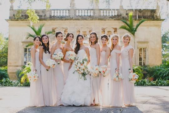 bridesmaids in blush Dessy dresses at Vizcaya / photo by darlingjuliet.com