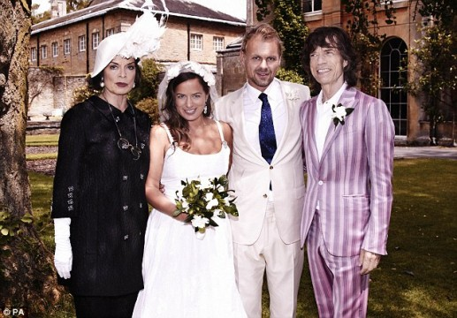 O Mick και η Bianca Jagger στο γάμο της κόρης τους, Jade