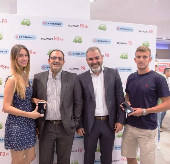 (από αριστερά) Η Άννα Πρέλιεβιτς, ο Αλέξανδρος Ντάβος Διευθυντής Retail Marketing Ομίλου OTE, ο Ιούλιος Μώκος Terminals Country Manager της Huawei, και ο Διαμαντής Χουχούμης από την ΠΑΕ Παναθηναϊκός