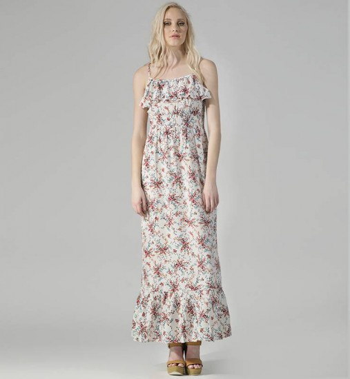 Maxi floral φόρεμα με τιράντες Pink Woman (25,99€)