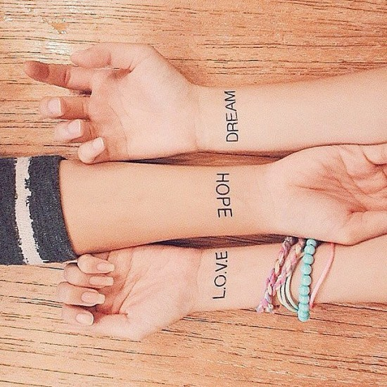 Love-Hope-Dream-best-friends-tattoos