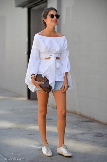 λευκό πουκάμισο-τζιν σορτς look