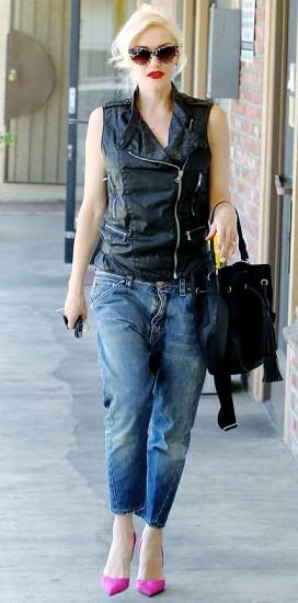 Summer look με δερμάτινο γιλέκο-Gwen Stefani