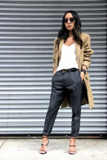 Le-Fashion-Blog-Fall-Office-Style-Work-Look-Camel-Coat-Sunglasses-V-Neck-White-Tee-Leather-Belt-Grey-Pants-Buckled-Strap-Heels-Via-Linh-Niller