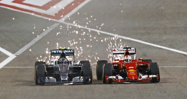 ROSBERG nico (ger) mercedes gp mgp w06 overtaking VETTEL sebastian (ger) ferrari sf15t action during 2015 Formula 1 FIA world championship, Bahrain Grand Prix, at Sakhir from April 16 to 19th. Photo Florent Gooden / DPPI