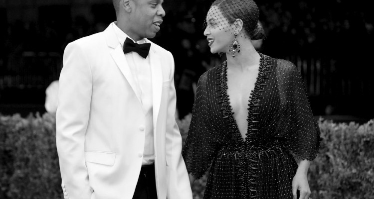 "NEW YORK, NY - MAY 05: (EDITORS NOTE: Image was converted to black and white.)   Jay-Z (L) and Beyonce attend the ""Charles James: Beyond Fashion"" Costume Institute Gala at the Metropolitan Museum of Art on May 5, 2014 in New York City.  (Photo by Mike Coppola/Getty Images)"