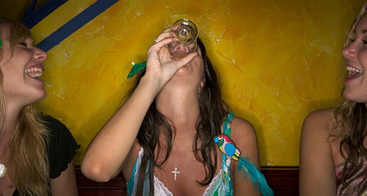 Women drinking in a bar