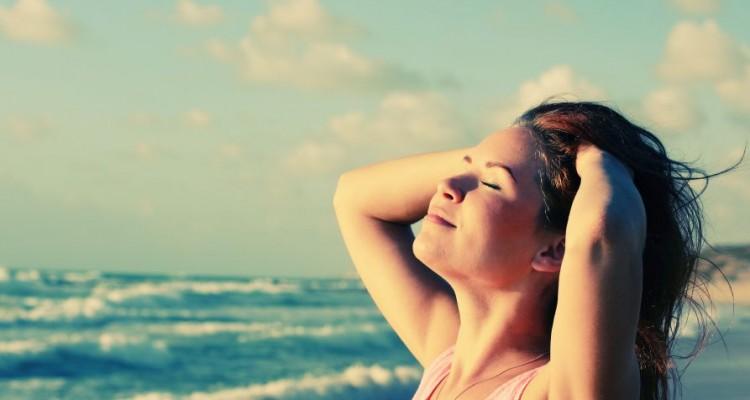 Portrait of happy loving woman outdoors