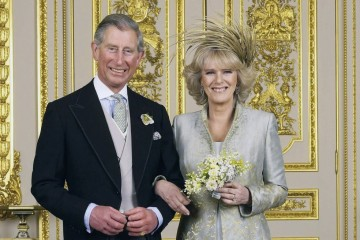 (EMBARGOED TO 0001 BST MONDAY APRIL 11 2005) WINDSOR, ENGLAND - APRIL 9: Clarence House official handout photo of the Prince of Wales and his new bride Camilla, Duchess of Cornwall in the White Drawing Room at Windsor Castle after their wedding ceremony, April 9, 2005 in Windsor, England. (Photo by Hugo Burnand/Pool/Getty Images)