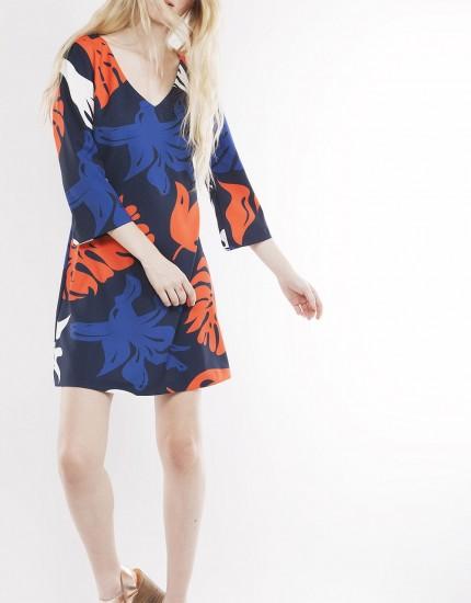 Eμπριμέ silk-touch φόρεμα