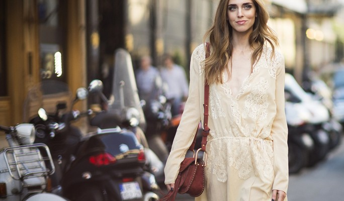 PARIS, FRANCE - JULY 06:  Chiara Ferragni is wearing a total Chloe look in the streets of Paris during the Paris Haute Couture Fashion Week on July 6, 2015 in Paris, France.  (Photo by Timur Emek/Getty Images)