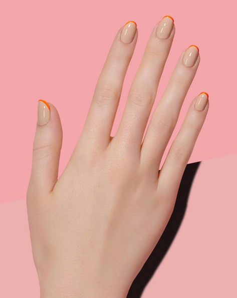 tiny-orange-french-manicure-by-paintbox-nails