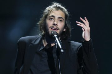 """Salvador Sobral from Portugal performs the song """"Amar pelos dois"""" during rehearsals for the Eurovision Song Contest, in Kiev, Ukraine, Friday, May 12, 2017. The final of The Eurovision Song Contest 2017 will be held on May 13. (AP Photo/Efrem Lukatsky)"""