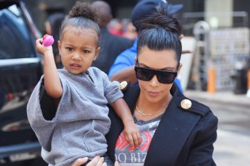 NEW YORK - SEPTEMBER 07: Kim Kardashian and daughter North West get lunch at ABC Kitchen on September 07, 2015 in New York, New York.  (Photo by Josiah Kamau/BuzzFoto via Getty Images)