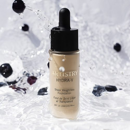 Artistry Hydra-V Sheer Weightless Foundation. For a fresh,dewy look,this is your go-to,go-and-glow,float-on finish. Lightweight,comforting and hydrated look with sheer to medium coverage.