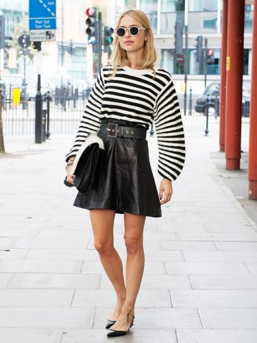 black-and-white-striped-top-stripes-black-leather-mini-skirt-black-pointy-toe-flats-round-retro-shades-via-imax-tree-via-whowhatwear