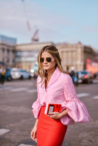 vbagn3-l-610x610-shirt-tumblr-pink+shirt-blouse-pink+blouse-puffed+sleeves-skirt-red+skirt-streetstyle-sunglasses-spring+outfits-bell+sleeve+shirt-red+pencil+skirt-blogger-date+outfit-sexy+outfit