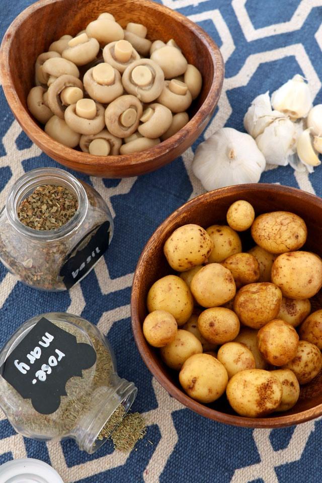 πατάτες baby με μανιτάρια