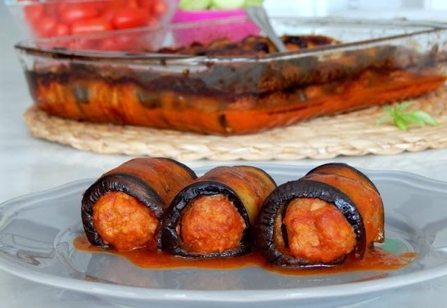 ρολά μελιτζάνας με κιμά